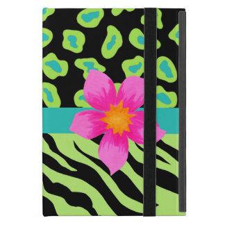 Green, Black & Teal Zebra & Cheetah Pink Flower Case For iPad Mini
