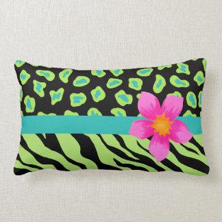 Green, Black & Teal Zebra & Cheetah Pink Flower Lumbar Pillow