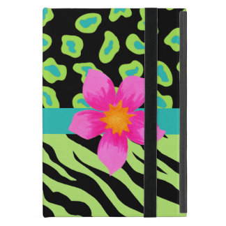 Green, Black & Teal Zebra & Leopard Pink Flower iPad Mini Covers