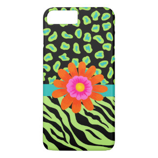 Green, Black Teal Zebra Leopard Skin Orange Flower iPhone 7 Plus Case