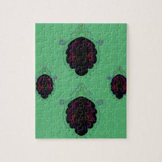 Green black vintage Ornaments Jigsaw Puzzle