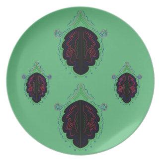 Green black vintage Ornaments Plate