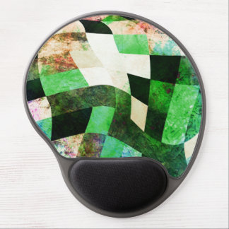 Green & Black Wavy Modern Design Gel Mouse Mats