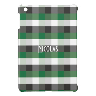 Green Black White Gingham Pattern Personalized iPad Mini Cases