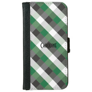 Green Black White Gingham Pattern Personalized iPhone 6 Wallet Case