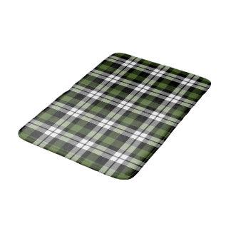 Green Black White Lumberjack Squares Pattern Bath Mat