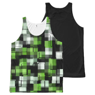 Green Black White Modern Pattern All-Over-Print Tank Top