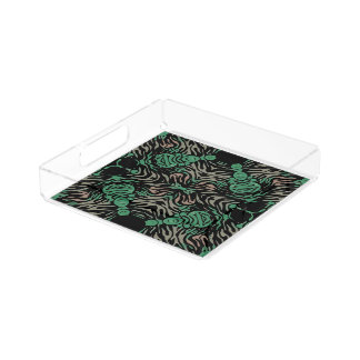Green Black Zebra Serving Tray