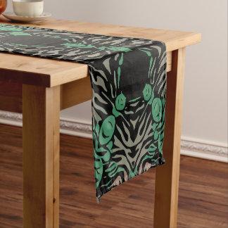 Green Black Zebra Short Table Runner