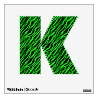 Green Black Zebra Stripe Personalized Letter Decal