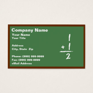 Green Blackboard with Simple Addition Business Card