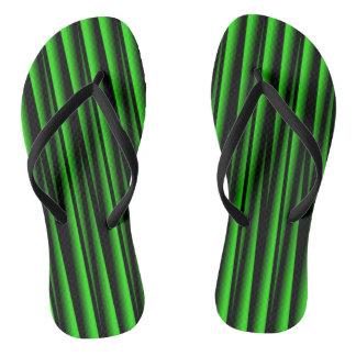 GREEN BLADES ON BLACK FLIP-FLOP FLIP FLOPS