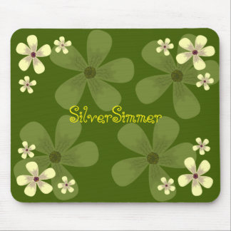 Green blossom mouse pad
