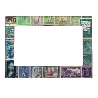 Green Blue 1 Postage Stamp Collage Picture Frame