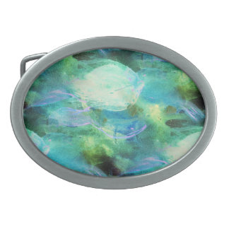 Green Blue Abstract Leaves belt buckle