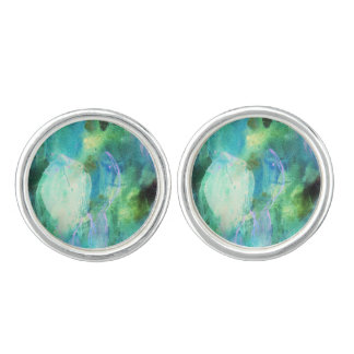 Green Blue Abstract Leaves cufflinks