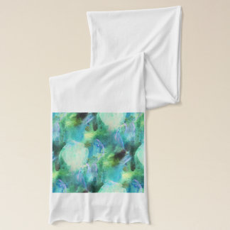 Green Blue Abstract Leaves scarf