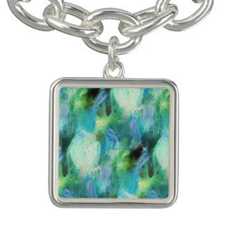 Green Blue Abstract Leaves watercolor print charm