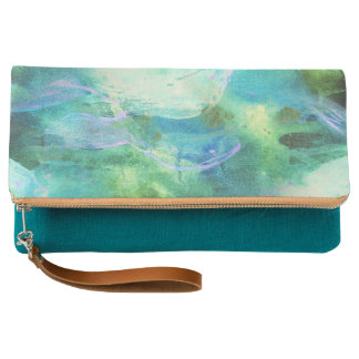 Green Blue Abstract Leaves watercolor print clutch