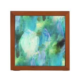 Green Blue Abstract Leaves watercolor print Desk Organizer