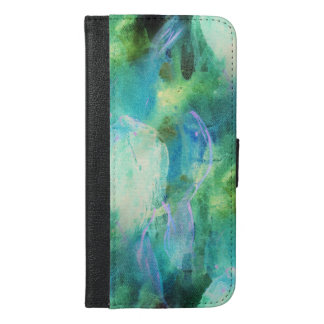 Green Blue Abstract Leaves watercolor print iPhone 6/6s Plus Wallet Case