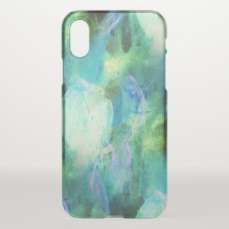 Green Blue Abstract Leaves watercolor print iPhone X Case
