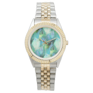 Green Blue Abstract Leaves watercolor print watch