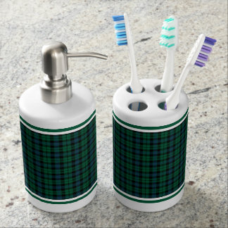 Green, Blue and Black Plaid Pattern Soap Dispenser And Toothbrush Holder