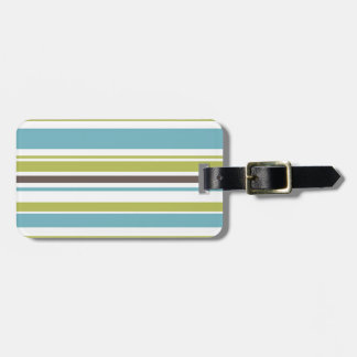 Green, Blue and Brown Stripes Luggage Tag