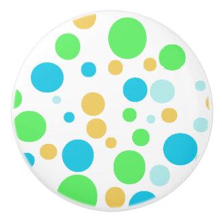 Green, Blue and Orange Polka Dotted Button Knob Ceramic Knob