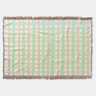 Green blue and pink watercolor stripes on white throw