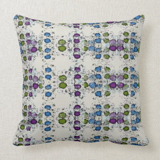 Green Blue and Purple Dots Throw Pillow