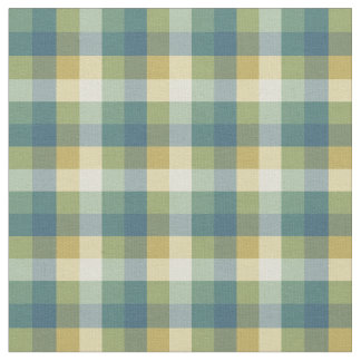 Green, Blue and Yellow Checkered Plaid Fabric