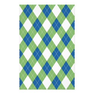 Green blue argyle pattern personalized stationery