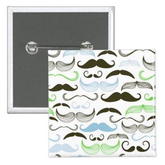Green, Blue & Black Mustache Design Pinback Buttons