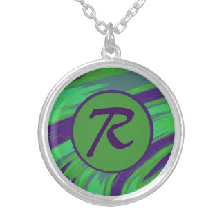 Green Blue Color Swish Monogram Round Pendant Necklace