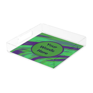 Green Blue Color Swish Serving Tray