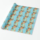 green blue cute christmas fox -wrapping paper