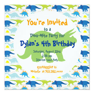 Green & Blue Dinosaurs Birthday Party Invitations
