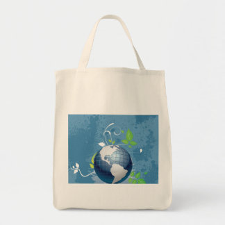 Green Blue Earth ~ Conserve Recycle Sustainable Grocery Tote Bag