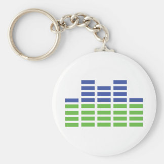 green blue equalizer audio sound basic round button keychain