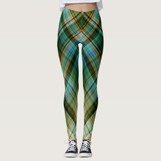 Green Blue Geometric Leggings