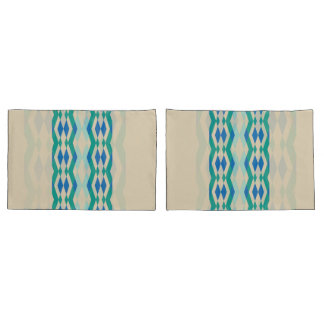 Green blue geometric pattern on beige background pillowcase