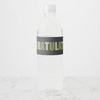 Green, Blue, Linen Grey Congratulations Water Bottle Label
