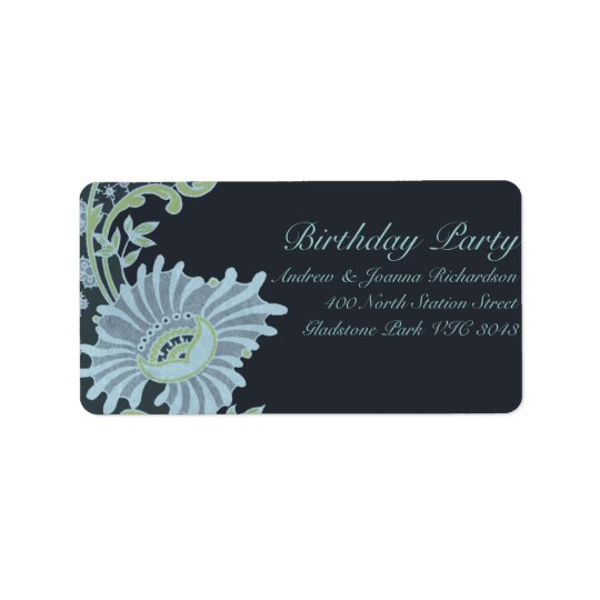 Green & Blue Lush Floral Address Label