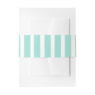 Green Blue Mint and White Stripes Wedding Invitation Belly Band