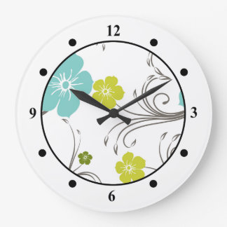 Green & Blue Modern Flower Design Wallclocks
