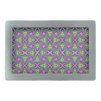 Green Blue Orange Mauve Rainbow Rhombus Pattern Rectangular Belt Buckle