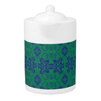 green/blue pattern abstract tea pot