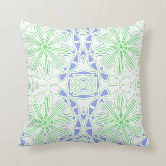 Green blue Pattern White Throw Pillow